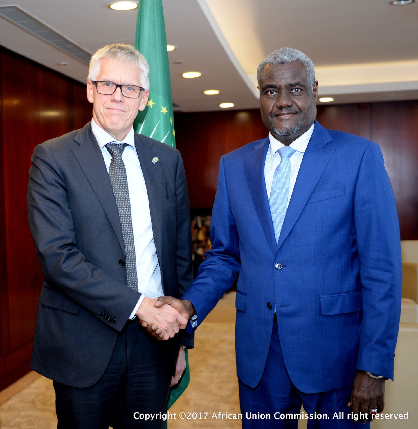 The Chairperson of the African Union Commission HE Moussa Faki Mahamat received the credentials of HE Torbjorn Pettersson, the incoming Swedish ambassador accredited to the African Union Commission.