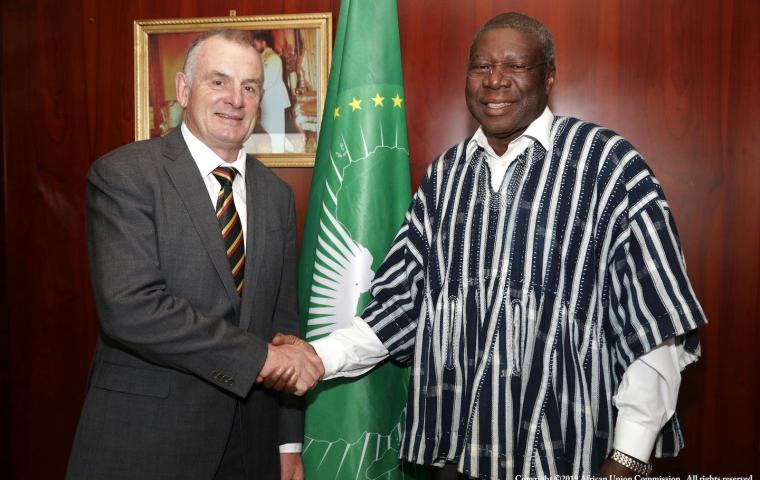 The African Union Commission Deputy Chairperson, Amb. Kwesi Quartey receives the Speaker of the New Zealand House of Representatives Rt Hon Trevor Mallard