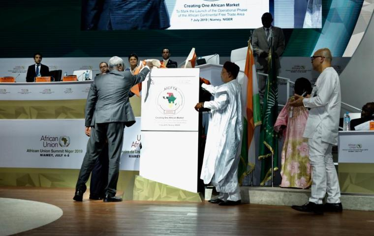 Launch of the Operational Phase of the African Continental Free Trade Area #AfCFTA through unveiling of the Commemoration Plaque