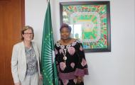 H.E. Minata Samate Cessouma, Commissioner for Political Affairs with Mrs Carin Jamtin, Swedish Director General for Development after a bilateral meeting.