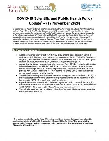 COVID-19 Scientific and Public Health Policy Update – 17 November 2020